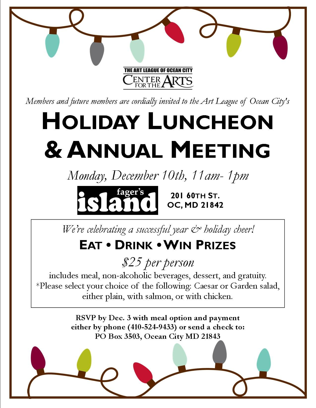 Annual Meeting And Holiday Luncheon Invitation 2018